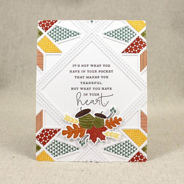 Thankful Heart Quilt Card by Lizzie Jones for Papertrey Ink (August 2015)