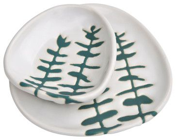 Handmade Dishes With Eucalyptus Leaf Pattern, Set of 2 contemporary-dinner-plates