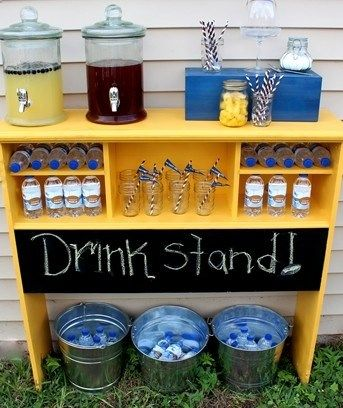 An old twin bookcase headboard repurposed into a bar drink stand for outdoor party picnic reception. Chalk board paint for sign. Upcycle, Recycle, Salvage, diy, thrift, flea, repurpose! For vintage ideas and goods shop at Estate ReSale ReDesign, Bonita Springs, FL