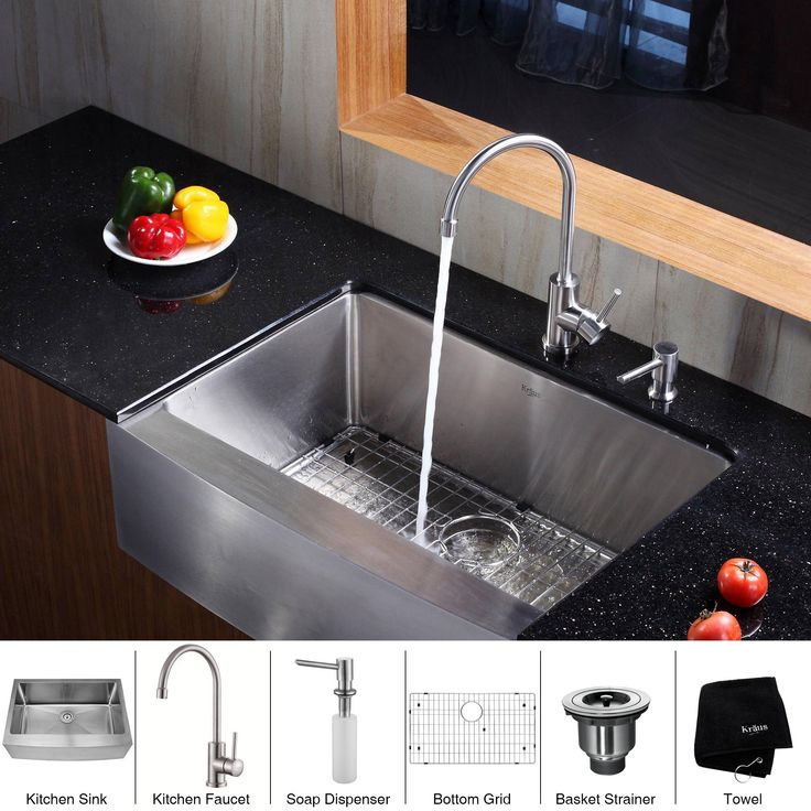 Give your home a touch of elegance with the Kraus stainless steel farmhouse kitchen sink seen here. The sink is scratch resistant and comes with a bottom grid with protective feet and bumpers, a strainer and more. The sink makes any kitchen look great.