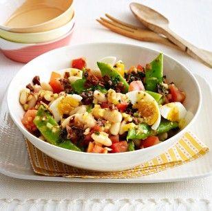 Bohnen-Tomaten-Salat mit Kartoffel-Schinken-Gremolata Rezept