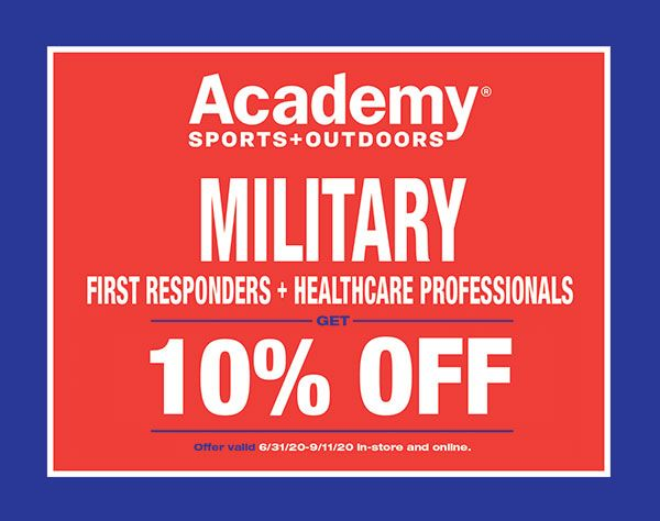 Academy Sports Coupon For Military First Responders And Healthcare Workers Health Care Sports Military First