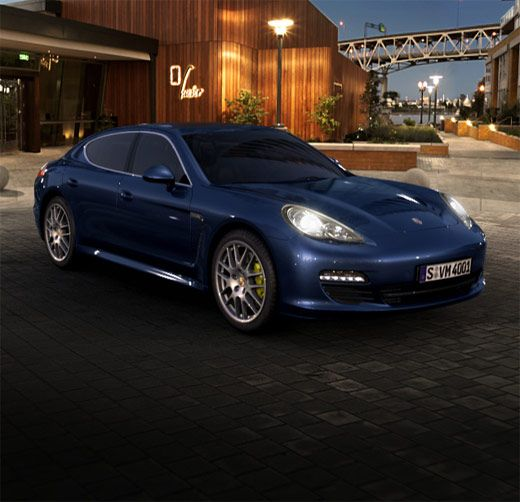 "Here's my weekend #Porche for going out w/ Mrs. B. Porche Panamera 4s, Dark Blue Metallic with 20"" RS Spyder Wheel rims."