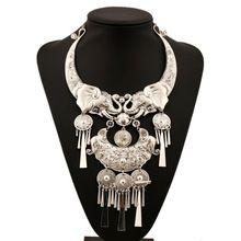 Mjartoria zilveren retro verklaring ketting vrouwen india olifant tassel hanger maxi ketting boho bohemian sieraden(China (Mainland))