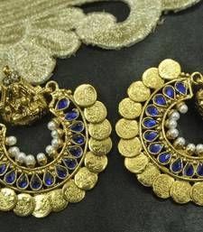 Buy Ram Leela Royal Blue colour Coin Earrings hoop online