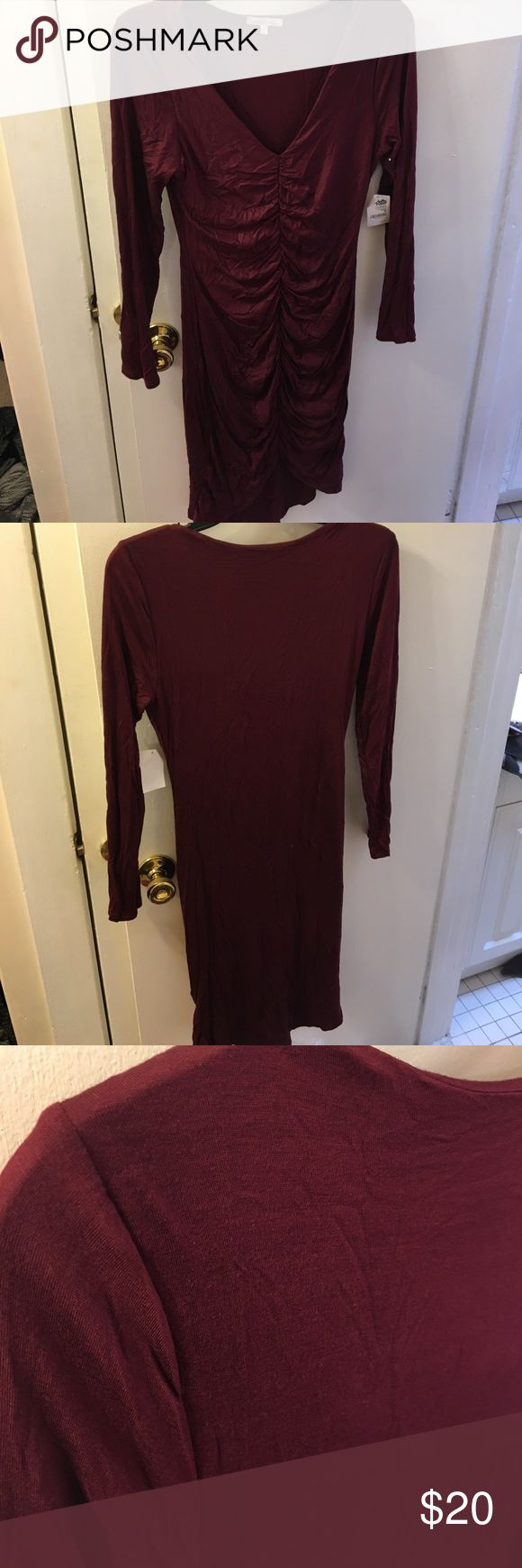 Charlotte Russe Maroon Ruched Fitted Dress Maroon ruched fitted dress. Comes up in the front and power in back. Tight fitting. Charlotte Russe Dresses Long Sleeve