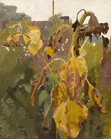 CHARLES MAHONEY Study of a Sunflower in the Artist's Garden with Rooftops Beyond (1940s)