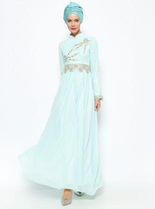 Yaprak Evening Dress - Mint - Azra Ozer