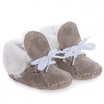 Beige Suede Leather Pre-Walker Bootees by Armani Junior