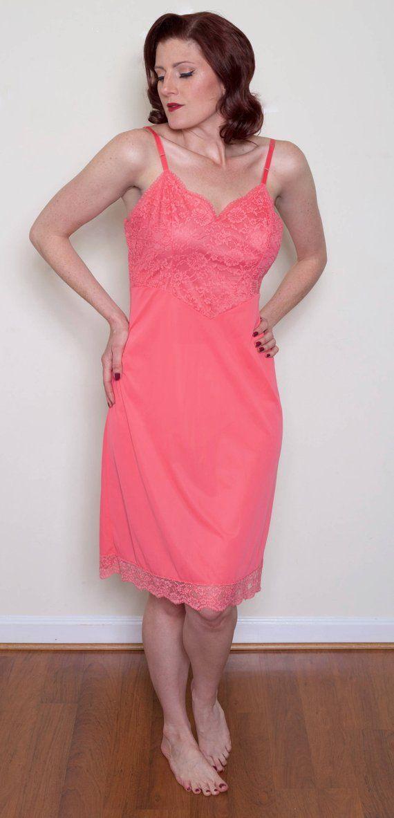 1950s Vanity Fair Lace Slip In Pink Vintage Slip Dress