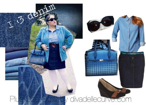 """I love denim - plus size outfit"" by divadellecurve @asos.com.com @Kiabi France France @Evan Staub Clothing @L ... Shop @Carpisa more pictures on the blog http://www.divadellecurve.com/2013/04/outfit-con-abbigliamento-taglie-comode.html"