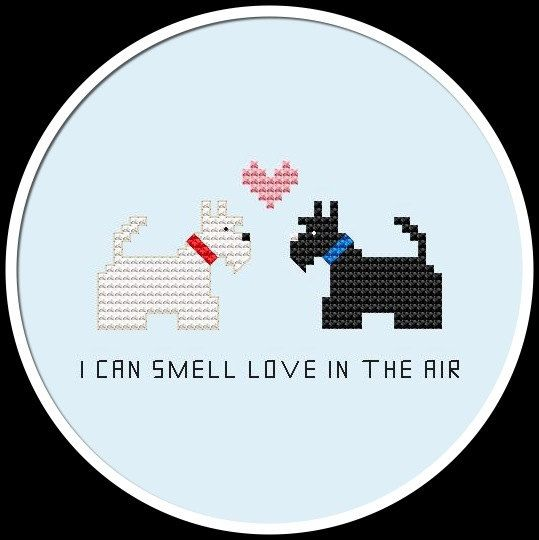 Cute Terrier Love Original Cross Stitch by HappyStitchProject, $1.99