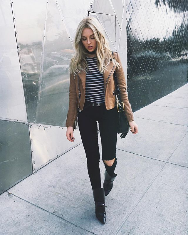 тельняшка, косуха и черные джинсы