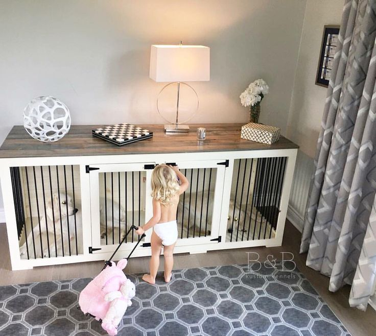 Warning: Too cute alert!  These dog kennels are can also be a fort to your little ones I guess! Love how this farmhouse style kennel fits in their home.