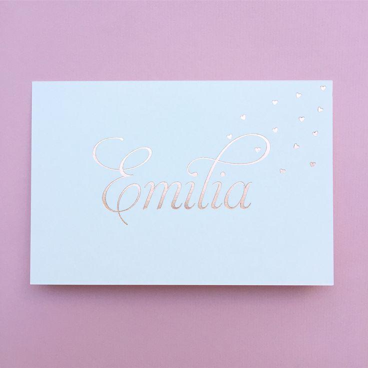 Geboortekaartje met rosé goudfolie voor Emilia  www.howsweetitis.be
