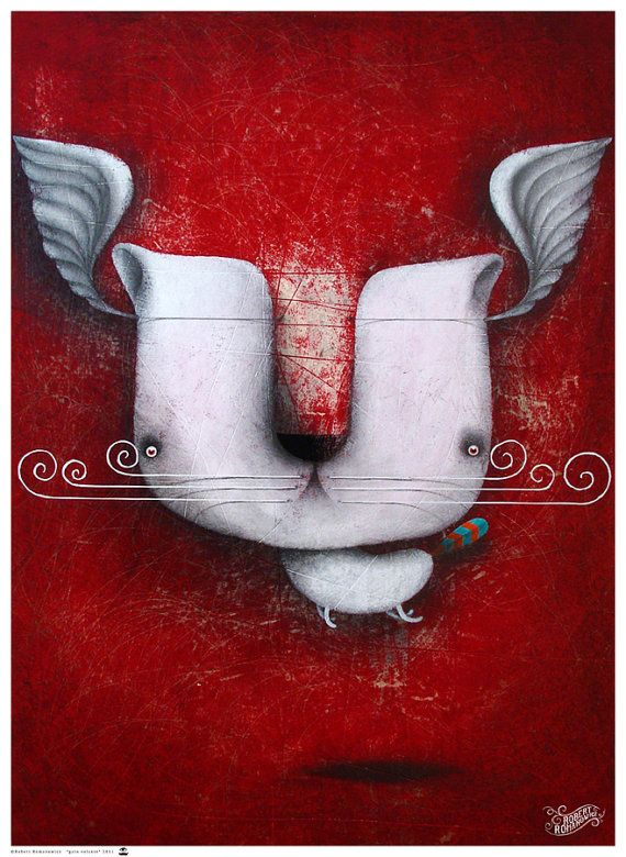 My painting reproduction / print *gato volante* by RobertRomanowicz on Etsy