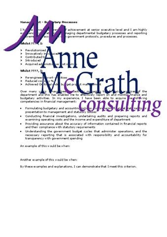 Management - Managing Budgetary Processes – Professional Resumes @ Anne McGrath Consulting