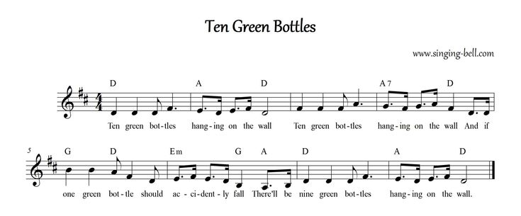 Ten Green Bottles Green Bottle Rhymes For Kids Ten