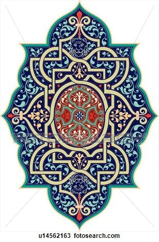 Blue and green with red colored Design Ornament View Large Clip Art Graphic