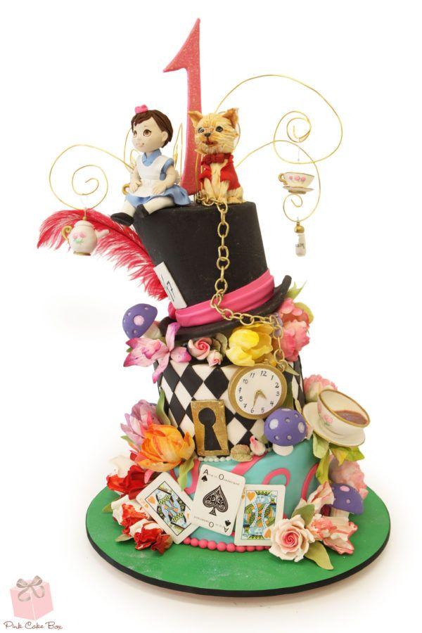 Alice in Wonderland First Birthday Cake #Whimsy #Onederland #FirstBirthday