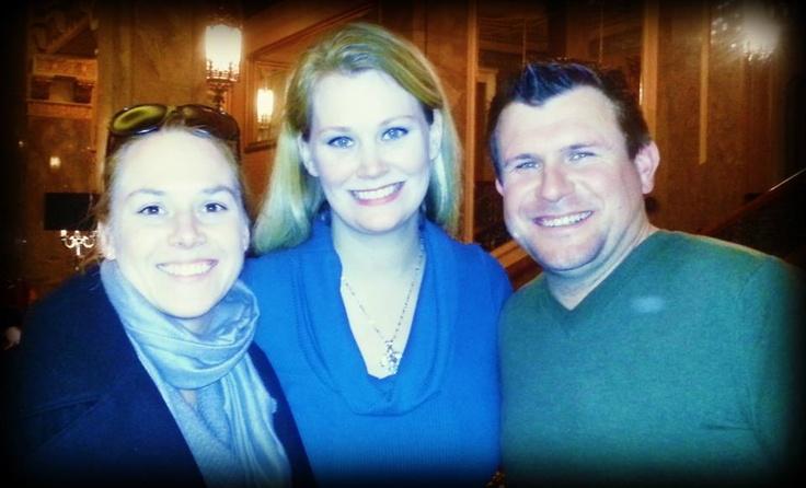Erika Hart ('87) & Patrick Dwyer ('87) with Alumni Director at Sir Francis Drake Hotel in San Francisco.