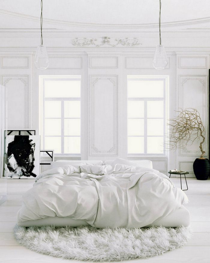 I have this urge to run and pounce on this bed! Iove everything about thus space. Note the lights, the movement of the driftwood on the right..the texture of the carpet…nice.