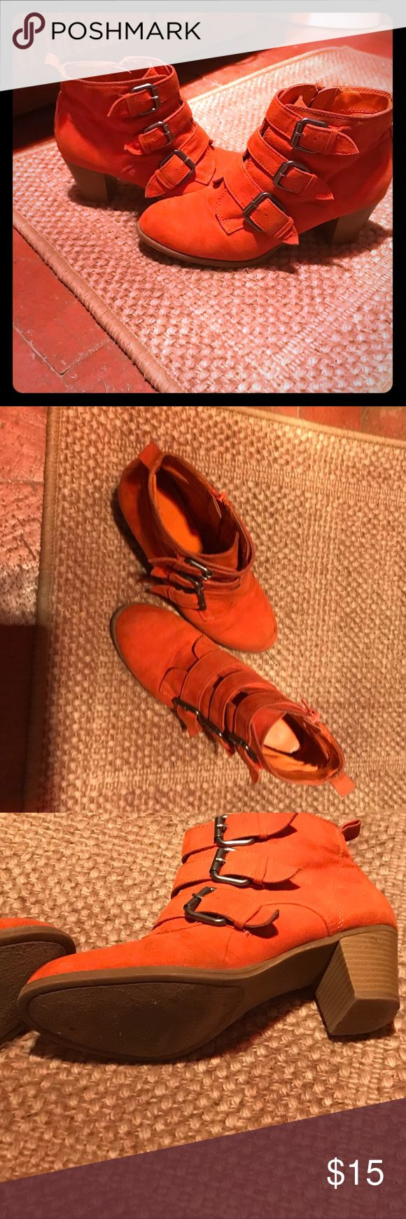 Size 7 1/2 orange vegan leather ankle booties Size 7.5 vegan leather burnt orange ankle booties with buckles. These are gently worn and in great condition. Shoes Ankle Boots & Booties