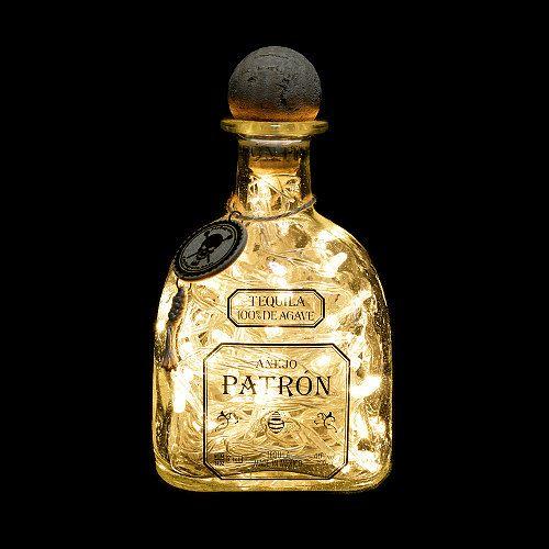 Patron Añejo Tequila Upcycled LED Bottle Lamp Light by JayEngrave