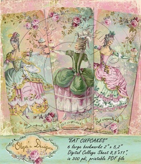 Eat cupcakes bookmarks, Digital Collage Sheet, in 300 pdi, printable PDF file