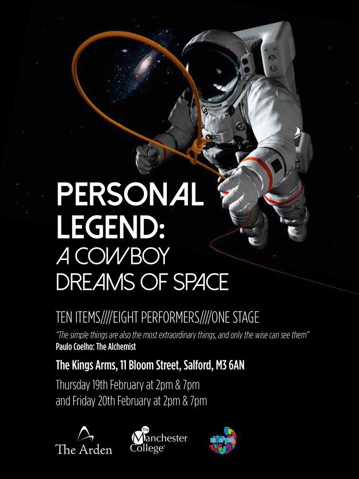 Poster for 'A cowboy dreams of space', performed by The Arden School of Theatre. Designed by Sarah Cleworth