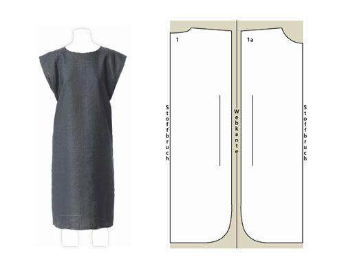 schwarzes Kleid Schnittzeichnung