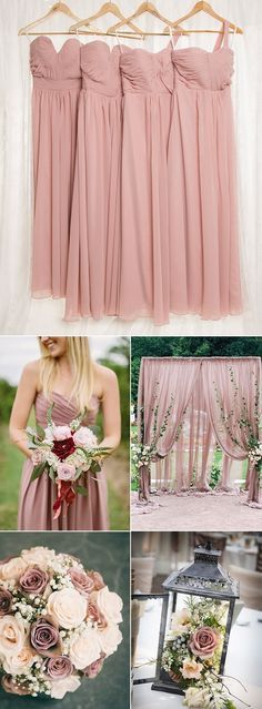dusty rose wedding color ideas and bridesmaid dresses
