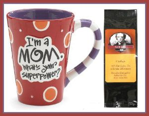 """I'm a Mom, What's Your Superpower?""""  It is hand painted and the words are raised. It is dishwasher and microwave safe. It is FDA approved. It comes in a gift box. http://theceramicchefknives.com/ceramic-mugs-variety/"""