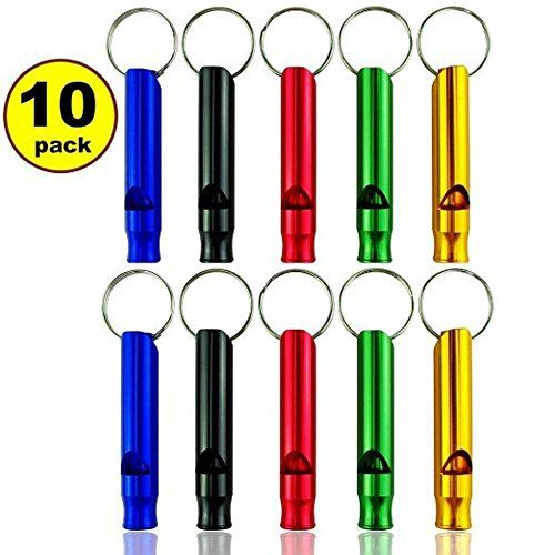 GTI 10 pcs Hiking Camping Aluminum Emergency Whistles Signal Survival Whistle with Keychain 2xBlue2xBlack2xRed2xGreen2xOrange Large ** See this great product.