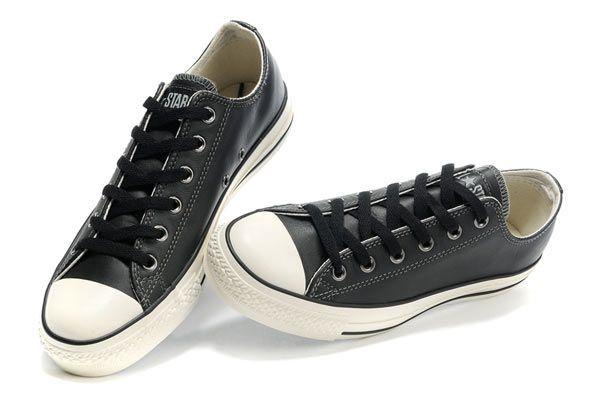 cheap black leather converse