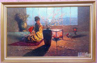 Csak nézz rá!: Pillangókisasszony, keretezett festmény repro