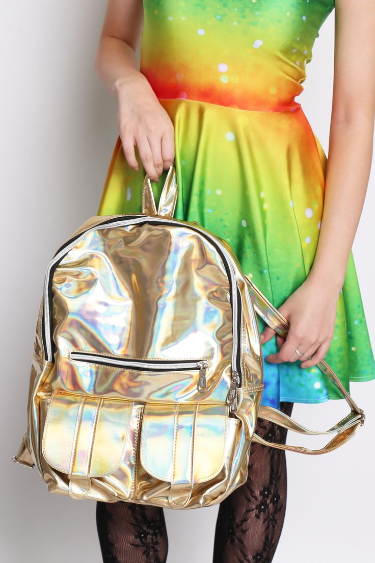 Golden Hues Holographic Backpack - $65.00 AUD