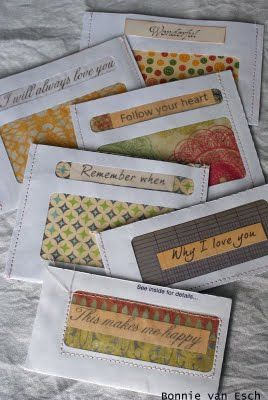Transparent window envelopes with patterned paper showing through. What about a twist: cut an unusual design in the junk mail return envelopes, line with pretty paper and affix address label - letter behind paper?