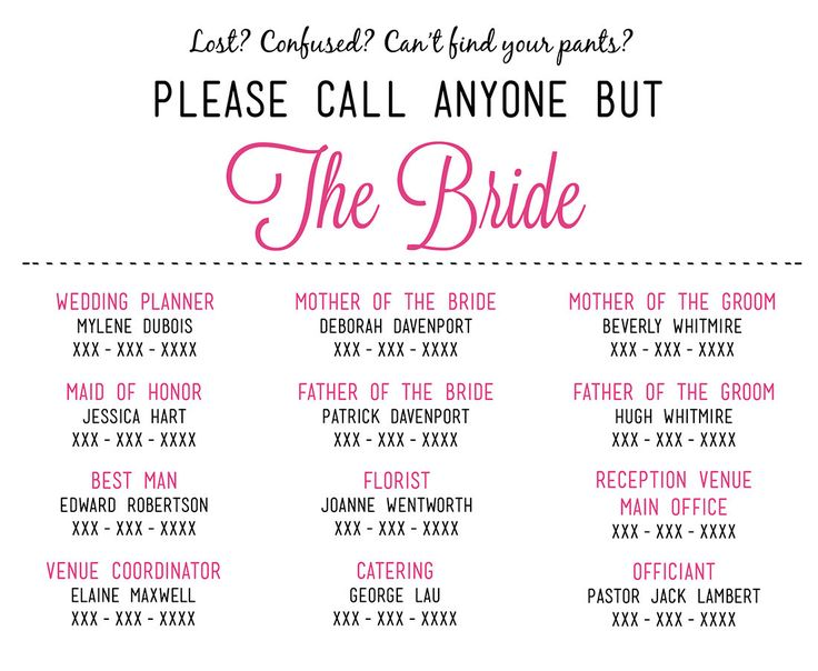 Please Call Anyone But The Bride Microsoft Word Wedding Insert Information Card Template
