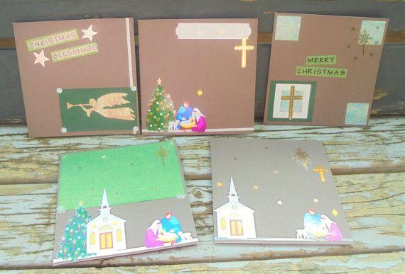 Christmas Blessings  set of 5 handmade cards by RogueKissedCraft