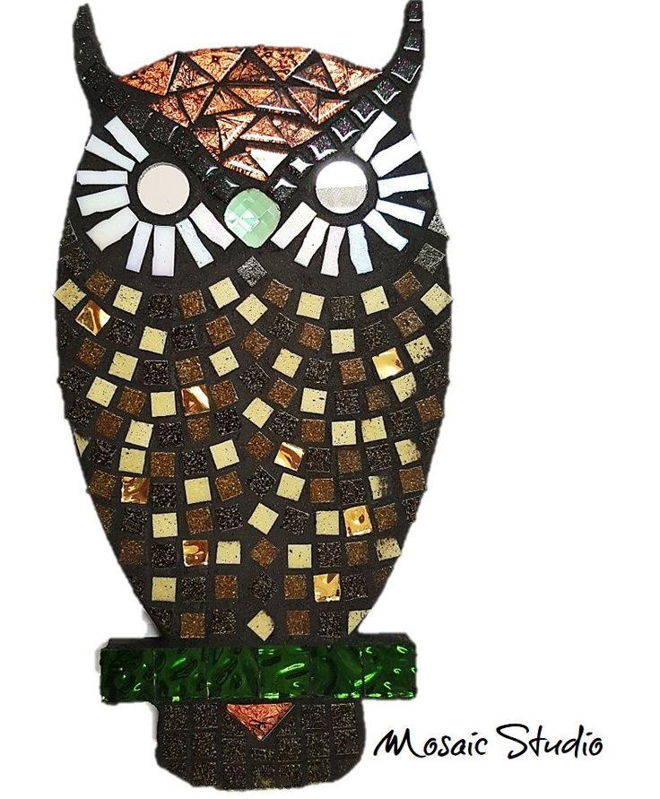 Mosaic Horned Owl- Kit-Set by MosaicStudio1 on Etsy