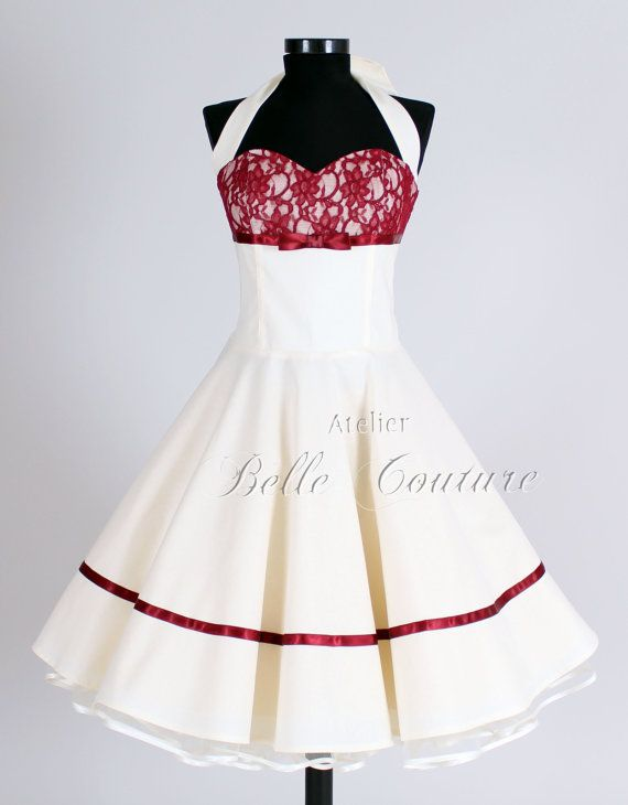 50s wedding dress item Marie II short by atelierbellecouture, €150.00. Renee and I decided this is perfect maybe without the red lace but we like the red ribbon.