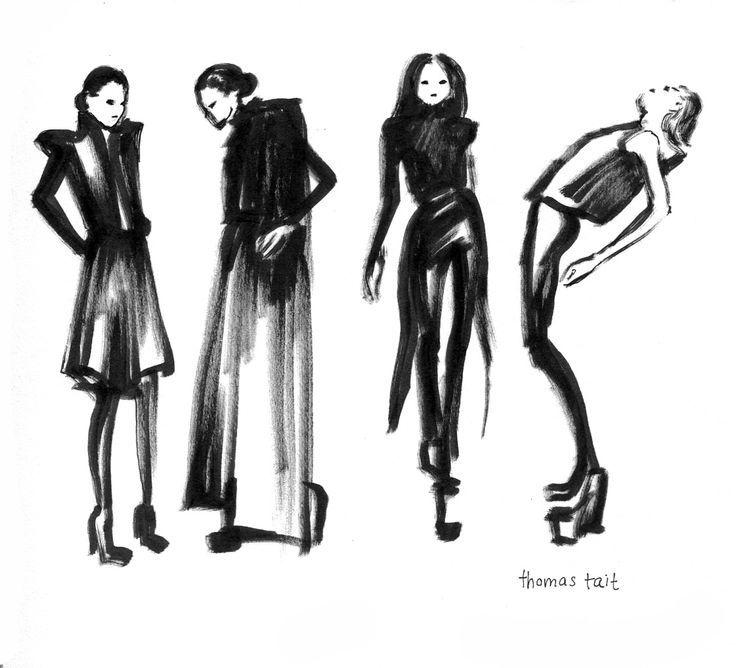 Fashion Sketches of looks by Thomas Tait; fashion illustration // Gina Schiappacasse