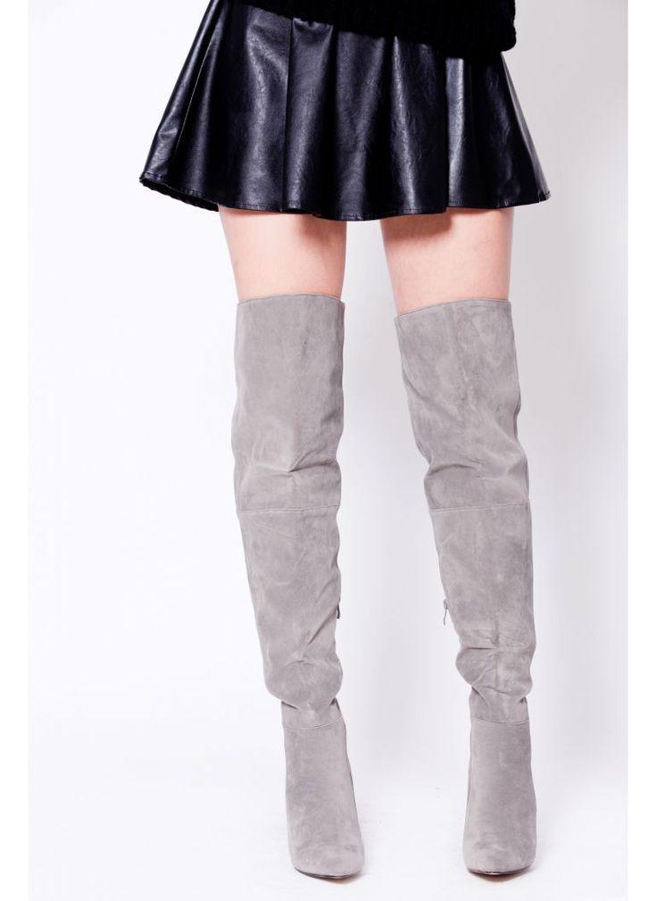 SZARE KOZAKI ZA KOLANO SZPILKA I OVER THE KNEE BOOTS I  MONASHE.PL - Sklep online z modną odzieżą. Bluzki, sukienki, torebki, obuwie, akcesoria.