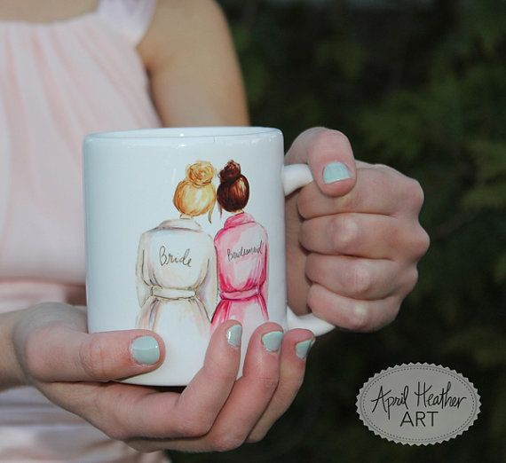 Bridesmaid or Maid/Matron of Honor MUG CUSTOM by aprilheatherart