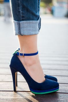 Jessica, blue [navy faux suede] ankle stap heels from Coral 8... these platform pumps are vegan - Stylishlyme.com