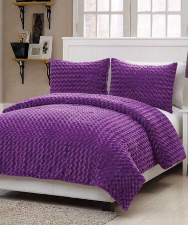 Take A Look At This Purple Rose Fur Comforter Set By