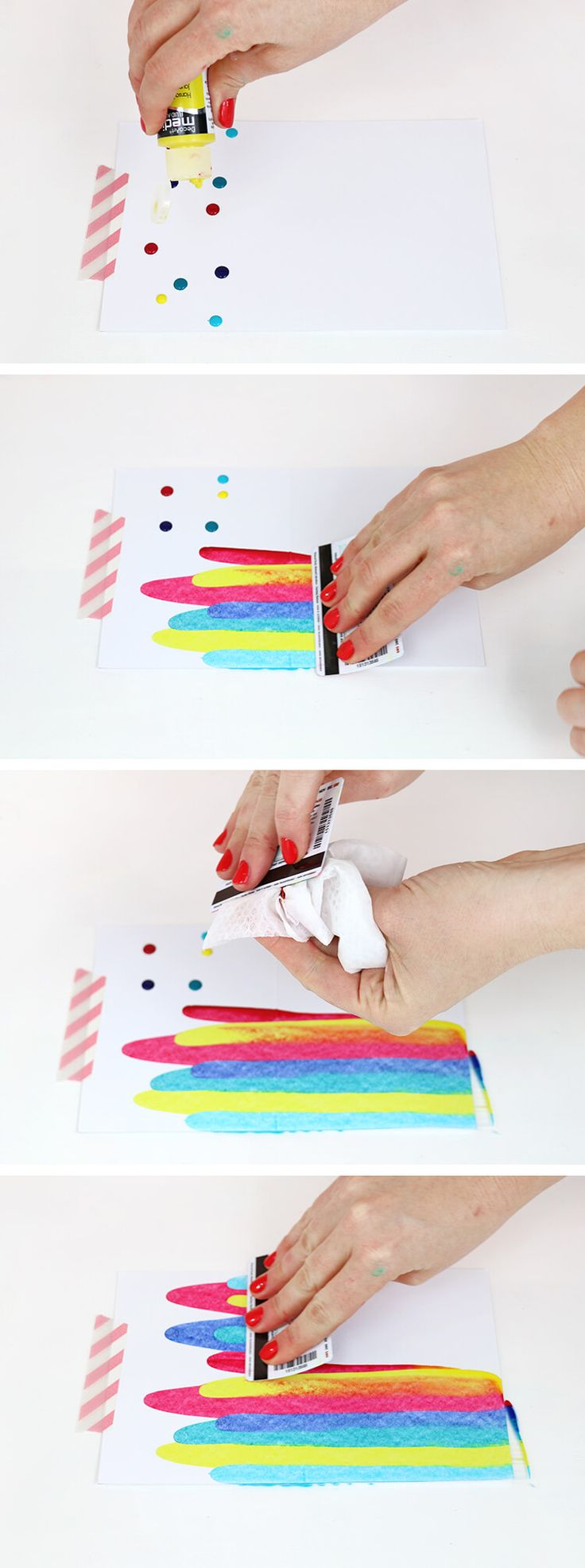 DIY art project idea - how to make paint scrape note cards