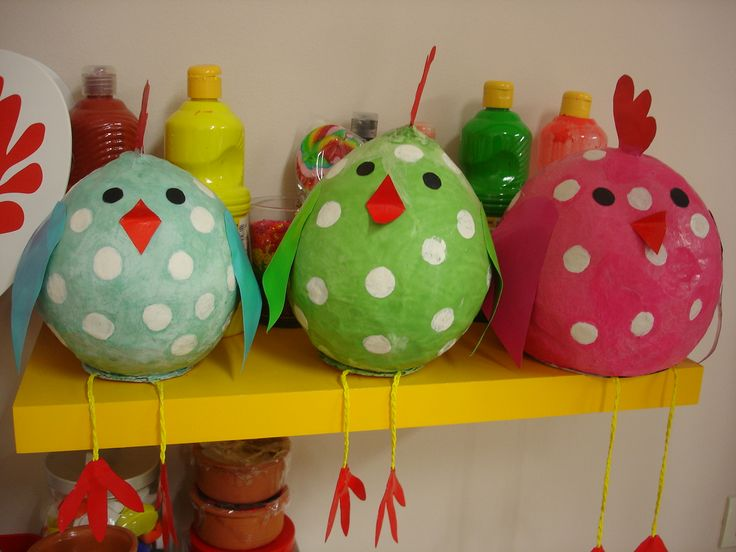 Papier mache chickens! Beautiful Easter classroom decoration!