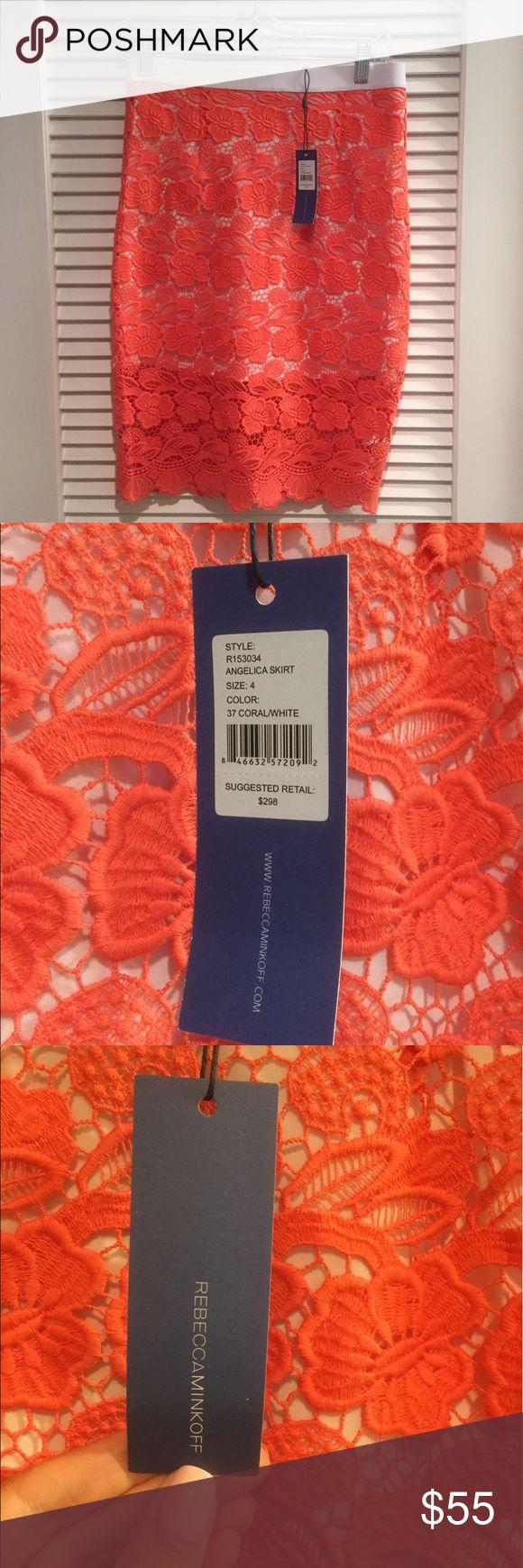 Rebecca Minkoff Coral Crochet Skirt, Size 4 NWT Rebecca Minkoff coral colored crochet pencil skirt, size 4.  Never worn, perfect condition.  Original price $298. Rebecca Minkoff Skirts Pencil